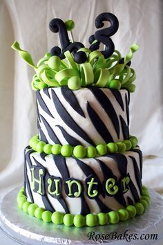 13th Birthday Cake:  Zebra Stripes, a Frilly Bow and Lime Green!!