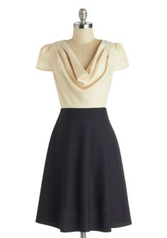 Gondola Engagement Dress in Cream and Navy | Mod Retro Vintage Dresses | ModCloth.com 100% Polyester. Fabric does not provide stretch. Machine wash. Unlined. Semi-sheer top. Side zipper closure. Decorative back buttons. Imported USD$79.99