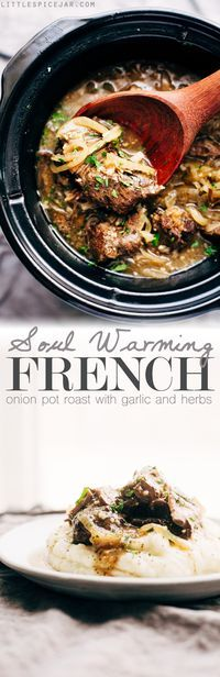Soul Warming French Onion Pot Roast - A simple pot roast that combines french onion soup with pot roast! Make it in the slow cooker on in the oven! #potroast #beefroast #frenchonionsoup #slowcooker | Littlespicejar.com