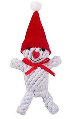 EXPAWLORER Dog Toys Christmas Snowman Cotton Rope Puppy Pet Tough Chew Toy for Small or Medium Dogs