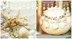 Use a hot-glue gun to decorate a pumpkin with seashells and other beachcombing finds. Experiment with different-size shells. BHG. Coastal Fall: http://www.pinterest.com/complcoastal/coastal-fall/