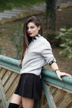 Picture of Ayça Aysin Turan Turkish Fashion, Turkish Beauty, Tween Fashion, Fashion Beauty, Best Friend Couples, Braces Girls, Selena Gomez Photoshoot, Button Front Denim Skirt, Girl Hiding Face
