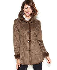 Calvin Klein Faux-Fur-Trim Buckle Duffle Coat | Things I love ...