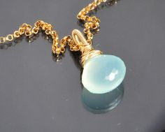 Aqua chalcedony necklace, gemstone necklace, choker, wire wrapped, 14K gold filled metal, birthstone necklace, cute little gem necklace by JWjewelrybox on Etsy