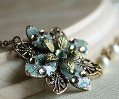 FREE matching earrings Bridal necklace - Earrings,set,weddings,green,swarovski crystal,pearl,brass,romantic,leaf,necklace