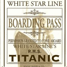 Titanic boarding pass titanic pinterest titanic titanic boarding pass magnetic bookmarks photographs set of 4 pronofoot35fo Images
