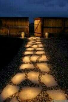 Diy; Glow-in-the-Dark Pathway. How-to: Line a Pathway of Rocks Painted in Glow in the Dark Paint. 'Rust- Oleum Glow in the Dark Brush -On Paint'.