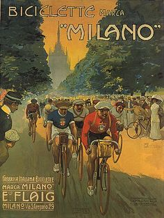 BIKE BICYCLE RACE BICICLETTE MILANO ITALIA ITALY ITALIAN VINTAGE POSTER REPRO