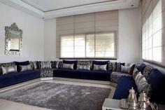 salon marocain en bleu