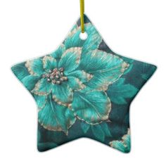 #Retro 50s Teal Holiday #Poinsettia #Christmas #Star  #Ornament by Lee Hiller