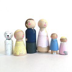 Familia de muñeca personalizada peg de 6 / / 2 padres / / 4