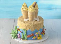 Relive days on the beach with this ultimate birthday cake Tea Biscuits, Beach Cakes, Types Of Cakes, Homemade Cake Recipes, Just Cakes, Cookie Designs, Yummy Cakes, Amazing Cakes, Cake Decorating