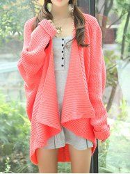 Stylish Turn-Down Collar Dolman Sleeve Solid Color Cardigan For Women