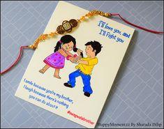 HappyMomentzz crafting by Sharada Dilip: Rakhi cards with loads of new ideas Rakhi Wishes For Brother, Rakhi Gifts For Sister, Diy Rakhi Cards, Rakhi Message, Quilling Rakhi, Rakhi Quotes, Rakhi Greetings, Raksha Bandhan Cards, Happy Diwali Images Hd