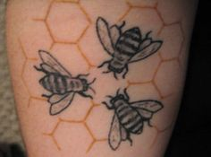 Bees tattoo - would like to do a version that puts the bees into a jewish star, or put a jewish star inside honeycombs.  by Erl Queen
