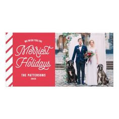 Red The Merriest Holidays Typography Photo Card - Xmascards ChristmasEve Christmas Eve Christmas merry xmas family holy kids gifts holidays Santa cards