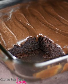 Gluten-Free Vegan Chocolate Texas Sheet Cake {Refined Sugar-Free}  INGREDIENTS Dry Cake Ingredients: 2¼ cups gluten-free flour blend (1 cup brown rice flour, ¾ cup tapioca starch, ½ cup sweet rice flour, ¾ tsp guar gum} 1 tsp baking soda ¼ tsp salt Liquid Cake Ingredients: 2 cups honey ⅔ cup unsweetened applesauce 1 tbsp pure vanilla extract Butter Chocolate Mixture Ingredients: 1 cup dairy-free butter  ½ cup cocoa powder 1 cup boiling water ---> Frosting Ingredients {see site)