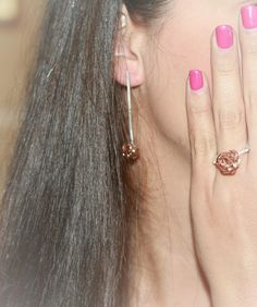 Elegant Earrings for Women,Rose Gold Bead Earrings, Contemporary Earrings, Gift Ideas for Her, for Girlfriend, for Mom, Special Occasion