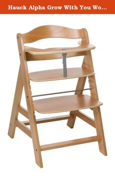 Hauck Alpha Grow With You Wooden Highchair (Natural). Alpha - today and for the future. The highchair that grows with your child. The practical Alpha is the ideal highchair for parents who place emphasis on design and functionality. The Hauck Alpha Grow With You Wooden Highchair comes complete with adjustable seat and footrest, so it can adapt as your child grows. The restraining bar and crotch strap will help keep your baby safe and comfortable at all times. For older children remove the...
