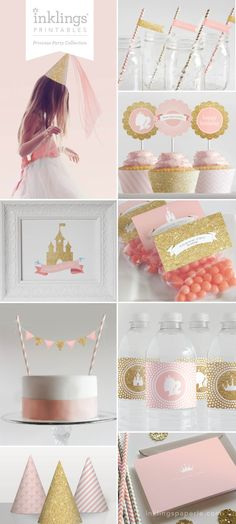 Princess Party Printable Decorations // Birthday Party // Pink and Gold Glitter Collection on Etsy, $27.68 AUD