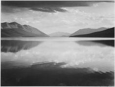 """Looking across lake toward mountains, """"Evening, McDonald Lake, Glacier National Park,"""" Montana., 1933 - 1942 - NARA - 519861 - Ansel Adams – Wikipédia, a enciclopédia livre"""