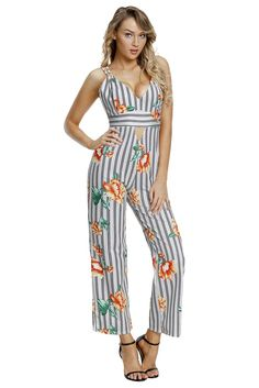 e9bd8bf949bc Black And White Striped Floral Print Jumpsuits