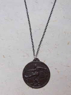 Upcycled Recycled Repurposed 1990 Vintage soccer pendant by OakbyLoriFrench, $30.00