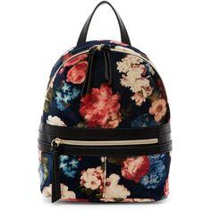 T-Shirt & Jeans Floral Velvet Backpack (31 CAD) ❤ liked on Polyvore featuring bags, backpacks, blue multi floral, floral bag, velvet bag, flower print backpack, handle bag and blue velvet bag
