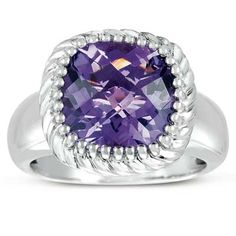 11.0mm Cushion-Cut Amethyst Rope Frame Ring in Sterling Silver