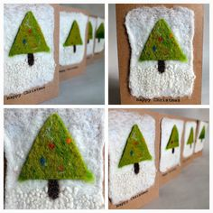 That Fuzzy Feeling: Making wet felt Christmas tree cards Christmas Craft Fair, Woodland Christmas, Felt Christmas, Christmas Time, Christmas Ideas, Homemade Christmas Cards, Christmas Tree Cards, Xmas Cards, Greeting Cards