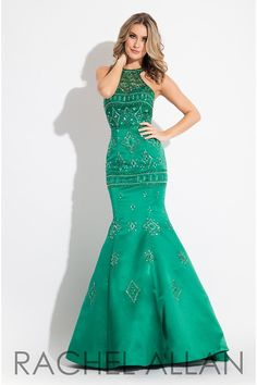 This Green mermaid dress is absolutely a show stopper, with its cut outs, layered skirt, and an open back, you will be the center of attention, and it's at Rsvp Prom and Pageant, your source of the HO