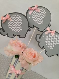 Elephant Baby Shower Centerpiece for Girls Pink by AllDiaperCakes