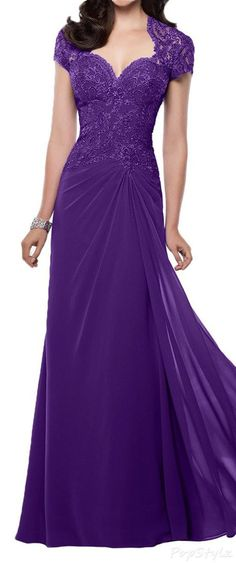 Sunvary Chiffon & Lace Cap Sleeves Evening Gown