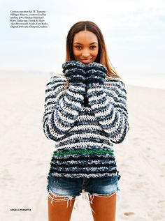 Tommy Hilfiger knit  | pearlonpearl UK Miss Vogue April 2014: Jourdan Dunn by Angelo Pennetto  | cotton and denim fabric strips?