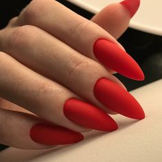 Red Matte Almond Shaped Nails Inspo Fall Winter Matte nails should absolutely be Matte Almond Nails, Red Matte Nails, Almond Acrylic Nails, Almond Shape Nails, Burgundy Nails, Fall Almond Nails, Bright Red Nails, Fall Nails, Cute Nails