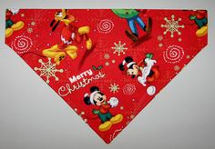 Mickey Mouse Christmas Red Dog Bandana by DaisyBluePetBoutique