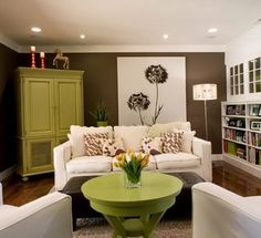 Want to spice up an otherwise neutral colour palette? Add some accent pieces in a funky colour! Side note: pot lighting is such a great way to subtly brighten a basement! #basement