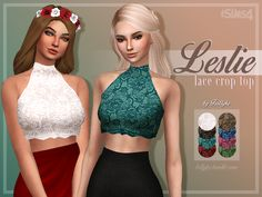 Leslie Lace Crop TopA stylish lace crop top, which is a perfect wear for the hot summer days! Enjoy! • custom thumbnail • comes in 8 different colours • base game compatible • please read my TOU •...