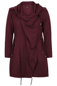 Plus Size Womens Burgundy Cocoon Shaped Parka Jacket With Drape Front Size 2426 Red *** Continue to the product at the image link. Khaki Parka, Khaki Jacket, Hooded Parka, Parka Coat, Parka Jackets, Outerwear Jackets, Hooded Jacket, Drape Front Jacket, Plus Size Coats