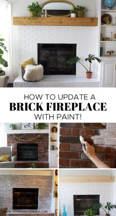 How To Update A Brick Fireplace - Homemade Ginger - - Learn how to update a brick fireplace with just a little work! This fireplace makeover is clean and modern! Update Brick Fireplace, White Wash Brick Fireplace, Painted Brick Fireplaces, Old Fireplace, Fireplace Design, Fireplace Modern, Brick Fireplace Remodel, How To Paint Fireplace, How To Paint Brick