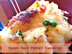Great for Busy on the Run Evenings. Only 4 ingredients: Frozen Perogies, Frozen Veggies, Alfredo Sauce, Shredded Cheese:  #perogy #perogies #casserole