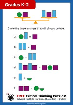 FREE Award-Winning Critical Thinking Puzzles! Sign Up Today! Delivered weekly to your inbox. Choose PreK – Grade 8. Can your child figure out the answer(s) to this Balance Benders activity?
