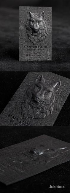 3D Embossed Premium Black Business Card on Behance. Jukebox Print.