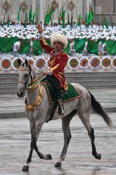 Turkmen man on Akhal-Teke horse ~ The Turkic people are located primarily in the Central Asian states of Turkmenistan, Afghanistan, northern Pakistan,