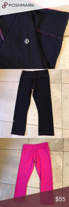 Lululemon reversible crop sz6 These r well made pink/black sz 6 WU, great condition lululemon athletica Pants Ankle & Cropped