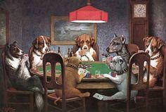 perros jugando poker