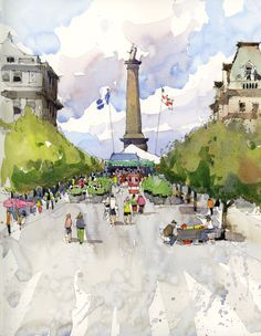 Urban Sketchers: Workshop in Old Montreal. Place Jacques Cartier and Carré St. Louis, by Marc Taro Holmes
