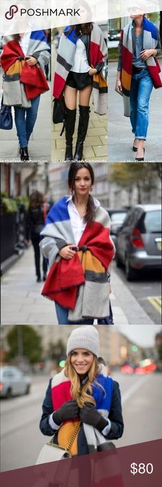 NWT Zara Extra Large Blanket Shawl Scarf Poncho Zara Extra Large Striped Red & Gray Blanket Shawl Scarf Poncho    Brand new, super soft and extra large to be worn several ways.    Pet and smoke-free home.     All items were purchased by me, from local and online boutiques, as well as department stores. Stock photos are shown to provide styling ideas. Zara Accessories Scarves & Wraps