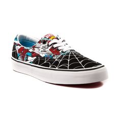 Shop for Vans Era Spider-Man Skate Shoe in Black White at Journeys Shoes. The Vans Era is a skate classic crafted with a soft footbed, double-stitched vamp, padded collar, and Vans signature waffle sole. Features a dual face canvas upper with Spider-Man comic book graphics and webbed-out toe and heel panels. The tongue features the timeless Marvel Comics logo.