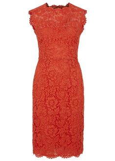 Valentino orange lace dress Floral design, bow embellishments at back, back�vent, scalloped trims, partially lined �� Concealed zip fastening through back � 77% cotton, 17% viscose, 6% polyamide; lining: 91% silk, 9% elastane